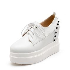 Donna PU Zeppe Ballerine Punta chiusa Zeppe con Rivet Allacciato scarpe (116142488)