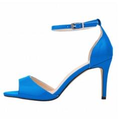Donna Pelle verniciata Tacco a spillo Sandalo Punta aperta scarpe (087091911)