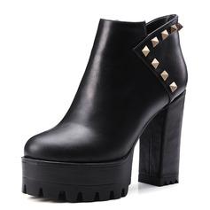 Frauen Kunstleder Stämmiger Absatz Absatzschuhe Plateauschuh Geschlossene Zehe Stiefel Stiefelette mit Niete Schuhe (088095913)