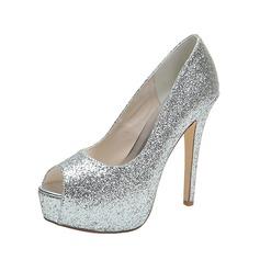 Women's Sparkling Glitter Stiletto Heel Peep Toe Platform Pumps Sandals (047053939)