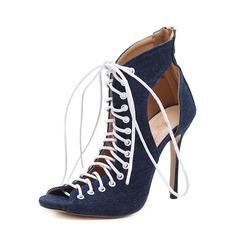 Frauen Baumwollstoff Stöckel Absatz Absatzschuhe Stiefel Peep Toe Stiefelette mit Reißverschluss Zuschnüren Schuhe (088151858)
