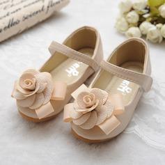 Mädchens Round Toe Mary Jane Leder Flache Ferse Flache Schuhe Blumenmädchen Schuhe mit Bowknot Satin Schleife Klettverschluss (207112418)