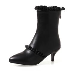 Frauen Kunstleder Stöckel Absatz Absatzschuhe Geschlossene Zehe Stiefel Stiefelette Stiefel-Wadenlang mit Geraffte Reißverschluss Schuhe (088172572)