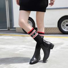 Frauen PU Stämmiger Absatz Stiefel Stiefel-Wadenlang mit Zweiteiliger Stoff Schuhe (088132777)