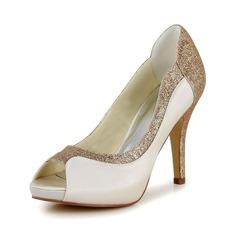 Frauen Satin Stöckel Absatz Peep Toe Absatzschuhe Sandalen mit Funkelnde Glitzer (047048533)