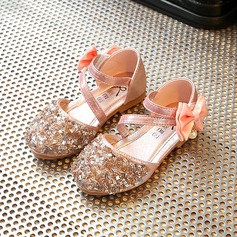Mädchens Round Toe Leder Flache Ferse Blumenmädchen Schuhe mit Bowknot Strass Klettverschluss (207121983)