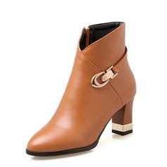 Женщины кожа Устойчивый каблук Полусапоги обувь (088092753)