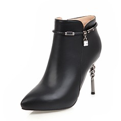 Frauen PU Stöckel Absatz Absatzschuhe Geschlossene Zehe Stiefel Stiefelette mit Strass Reißverschluss Kette Schuhe (088143638)