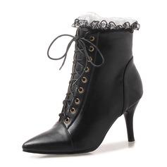 Frauen Kunstleder Stöckel Absatz Absatzschuhe Stiefel Stiefelette mit Zuschnüren Schuhe (088172950)