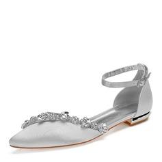 Femmes Soie comme du satin Talon plat Chaussures plates avec Strass Chaîne (047199903)