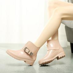 Frauen PVC Niederiger Absatz Stiefel Stiefel-Wadenlang Regenstiefel mit Schnalle Schuhe (088127038)