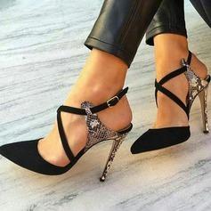Donna Similpelle Tacco a spillo Sandalo Stiletto Punta chiusa Con cinturino con Fibbia scarpe (085171514)