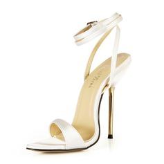 Femmes Satiné Talon stiletto Sandales Escarpins avec Boucle chaussures (087051963)