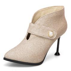 Frauen Kunstleder Stöckel Absatz Absatzschuhe Stiefel Stiefelette mit Nachahmungen von Perlen Reißverschluss Schuhe (088172664)