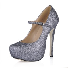 Women's Sparkling Glitter Stiletto Heel Pumps Platform Closed Toe With Buckle shoes (085016540)