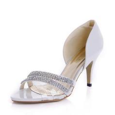 Piel brillante Tacón Stilettos Sandalias Salón con Diamante de imitación zapatos (087039896)