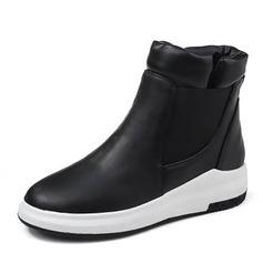 Frauen PU Flascher Absatz Flache Schuhe mit Reißverschluss Schuhe (088144273)