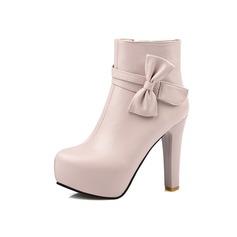 Frauen Kunstleder Stöckel Absatz Plateauschuh Stiefelette mit Bowknot Reißverschluss Schuhe (088097370)
