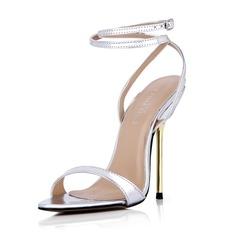 Kvinnor Konstläder Stilettklack Sandaler Pumps Peep Toe Slingbacks med Spänne skor (087042770)