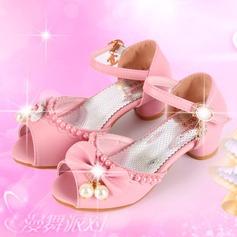 Fille de bout rond À bout ouvert similicuir Chaussures de fille de fleur avec Bowknot (207200911)