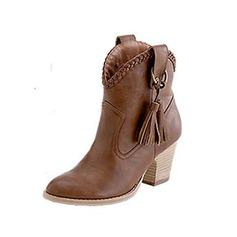 Frauen Wildleder Stämmiger Absatz Stiefelette Martin Stiefel mit Quaste Zweiteiliger Stoff Schuhe (088096241)