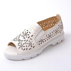 Kvinnor Konstläder Flat Heel Platta Skor / Fritidsskor Peep Toe skor (086090825)