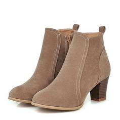 Frauen Veloursleder Stämmiger Absatz Absatzschuhe Stiefel Stiefelette mit Reißverschluss Schuhe (088151107)