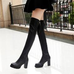 Frauen PU Stämmiger Absatz Stiefel Kniehocher Stiefel mit Reißverschluss Schuhe (088137091)