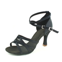 Women's Satin Heels Sandals Latin With Ankle Strap Dance Shoes (053013001)
