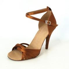 Frauen Satin Heels Sandalen Latin mit Knöchelriemen Tanzschuhe (053013008)