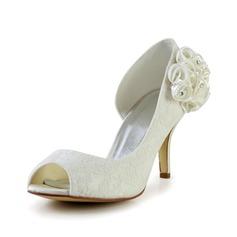 Kvinnor Spetsar Stilettklack Peep Toe Pumps Sandaler med Strass Satäng Blomma (047029478)