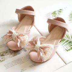 Ragazze Punta aperta finta pelle Heel piatto Ballerine Scarpe Flower Girl con Bowknot Velcro (207167088)