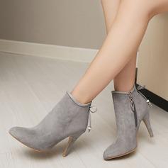 Frauen Veloursleder Stöckel Absatz Absatzschuhe Stiefelette mit Bowknot Reißverschluss Schuhe (088145081)