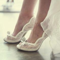 Женщины сетка Высокий тонкий каблук Открытый мыс Beach Wedding Shoes с горный хрусталь Лента (047126533)
