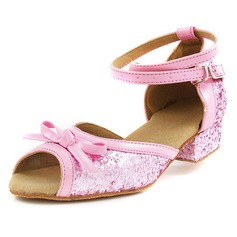 Women's Kids' Leatherette Sparkling Glitter Heels Sandals Flats Latin Ballroom With Bowknot Ankle Strap Dance Shoes (053013003)