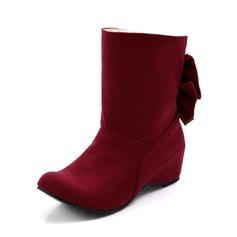 Frauen Wildleder Keil Absatz Geschlossene Zehe Keile Stiefelette mit Bowknot Schuhe (088094808)