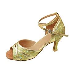 Kvinnor Konstläder Glittrande Glitter Klackar Sandaler Latin med Sotled Rem Dansskor (053013309)
