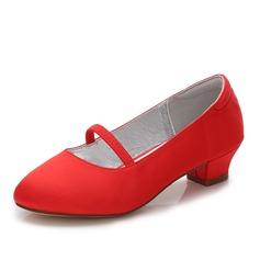 Mädchens Round Toe Geschlossene Zehe Mary Jane Seide wie Satin niedrige Ferse Blumenmädchen Schuhe mit Gummiband (207202104)