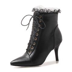 Frauen Kunstleder Stöckel Absatz Absatzschuhe Stiefel Stiefelette Martin Stiefel mit Geraffte Zuschnüren Schuhe (088175350)