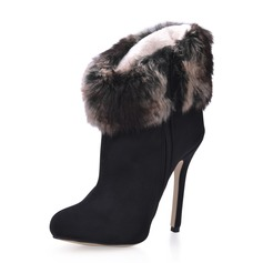 Suede Stiletto Heel Ankle Boots With Fur shoes (088016954)
