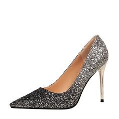 Frauen Funkelnde Glitzer Stöckel Absatz Absatzschuhe Geschlossene Zehe mit Funkelnde Glitzer Schuhe (085139783)