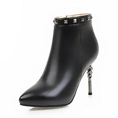 Frauen PU Stöckel Absatz Absatzschuhe Geschlossene Zehe Stiefel Stiefelette mit Niete Reißverschluss Schuhe (088143634)