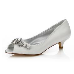 Frauen Satin Niederiger Absatz Peep Toe Färbbare Schuhe mit Strass (047088654)