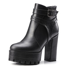 Frauen Kunstleder Stämmiger Absatz Absatzschuhe Plateauschuh Geschlossene Zehe Stiefel Stiefelette mit Schnalle Schuhe (088095958)