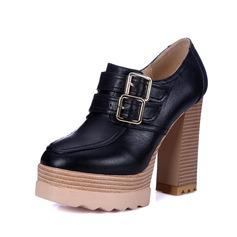 Naisten Keinonahasta Chunky heel Avokkaat Foorumi Suljettu toe jossa Solki kengät (085095928)