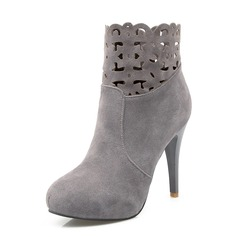 Frauen Wildleder Stöckel Absatz Stiefelette Schuhe (088091723)
