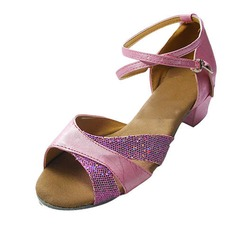 Women's Kids' Leatherette Sparkling Glitter Sandals Flats Latin With Ankle Strap Dance Shoes (053013007)