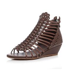 Naisten Aitoa nahkaa Wedge heel Sandaalit Peep toe kengät (087087389)