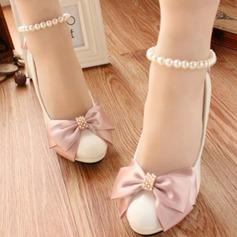 Frauen Kunstleder Stöckel Absatz Geschlossene Zehe Absatzschuhe mit Bowknot Nachahmungen von Perlen (047104071)
