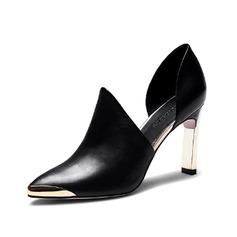 Aitoa nahkaa Chunky heel Avokkaat Suljettu toe kengät (085062178)